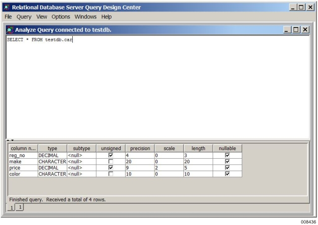 Analyze Query Window - Relational Database Server for ClearPath MCP